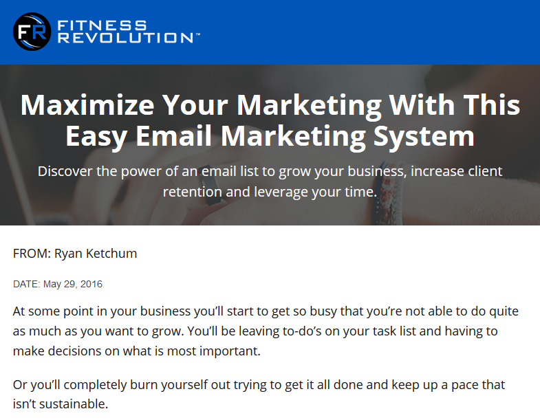 Fitness Revolution Email Marketing System Landing Page Medium