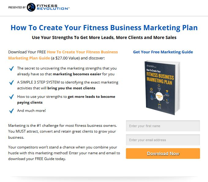 Fitness Revolution Create a Fitness Marketing Plan Lead Magnet