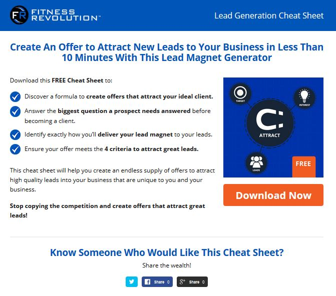 Lead Generation Cheat Sheet